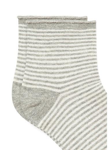 Mavi Çizgili  Soket Çorap Gri
